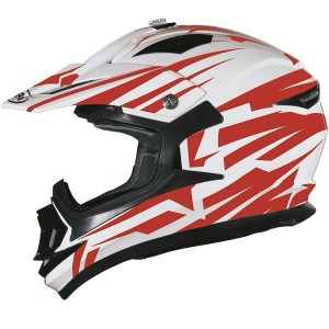 CASCO DE CROSS SHIRO MX734 BRAVO BLANCO ROJO APROBADO